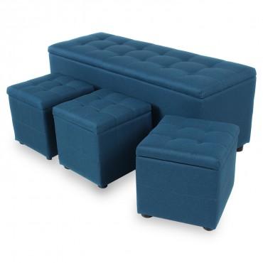 Banquette Coffre Valence XL Tissu + 3 poufs Bleu canard