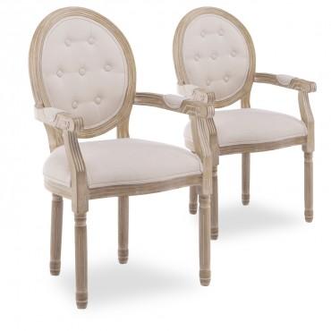 Lot de 2 fauteuils médaillon capitonnés Louis XVI tissu Beige