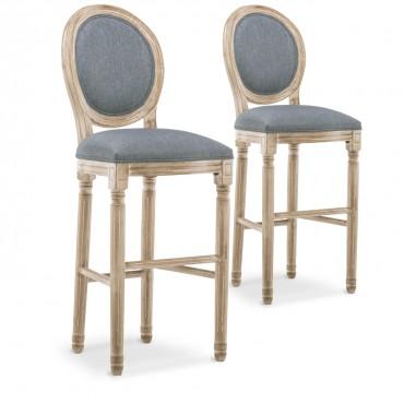 Lot de 2 chaises de bar médaillon Louis XVI tissu Gris