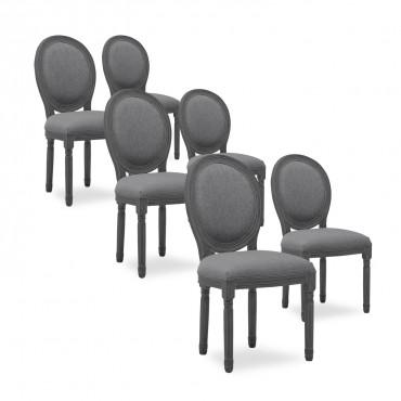 Lot de 6 chaises médaillon Louis XVI tissu Gris bois Gris