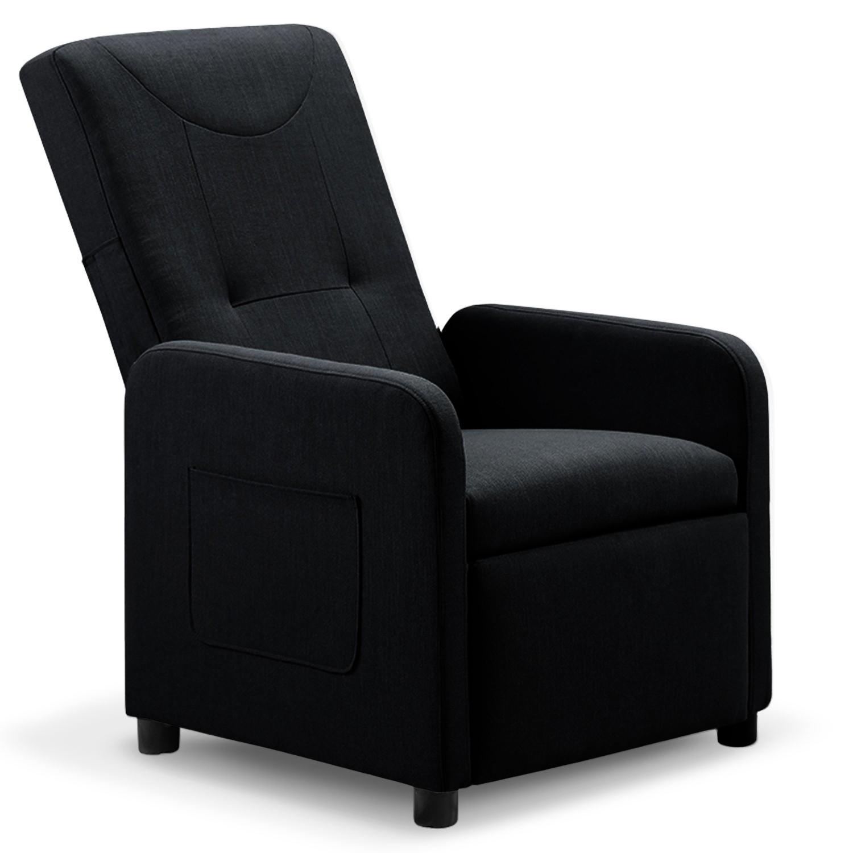 Fauteuil relax pliable Bristol tissu Noir