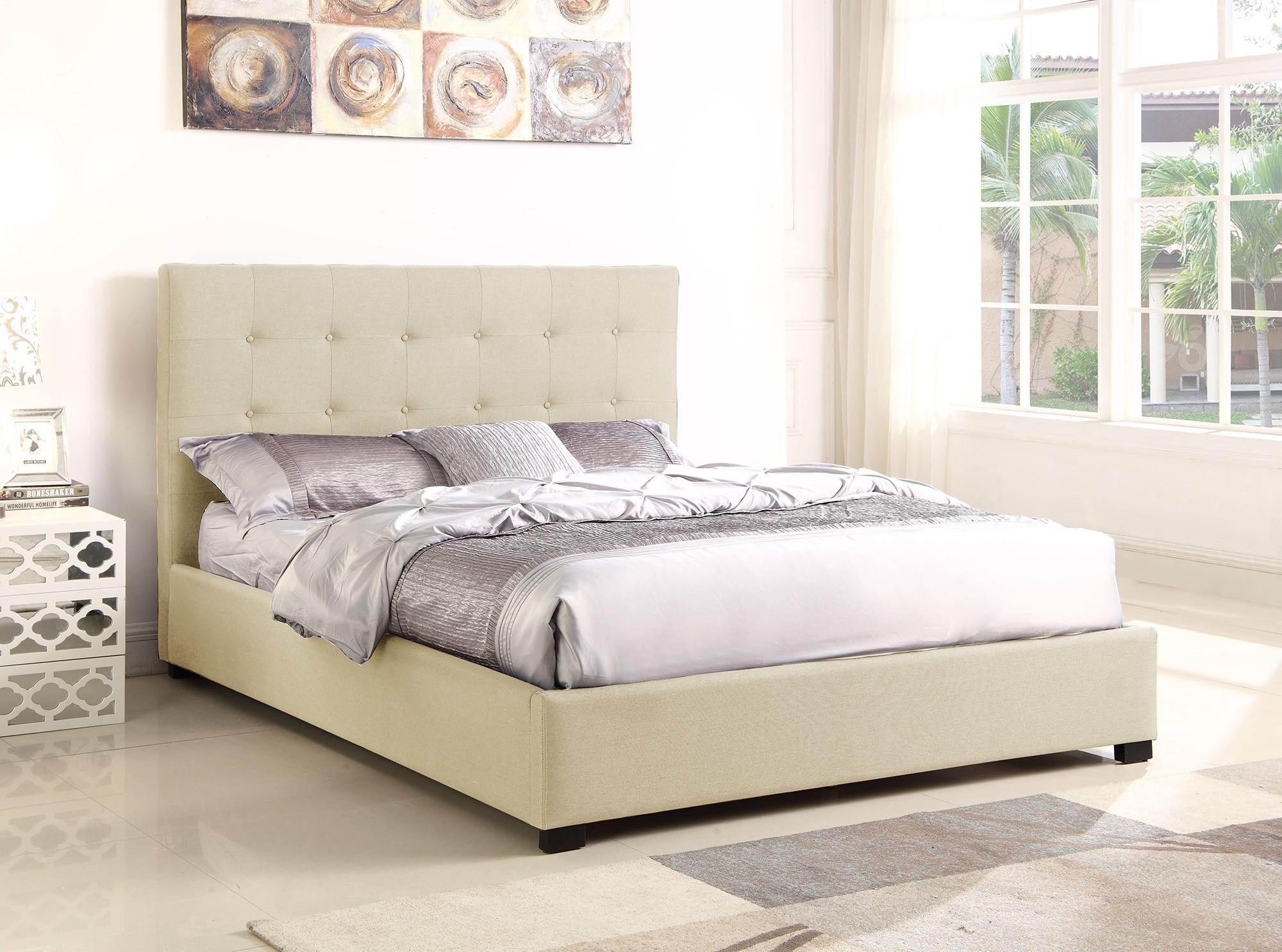 lit coffre layton sommier 140cm tissu beige lits 2 places. Black Bedroom Furniture Sets. Home Design Ideas
